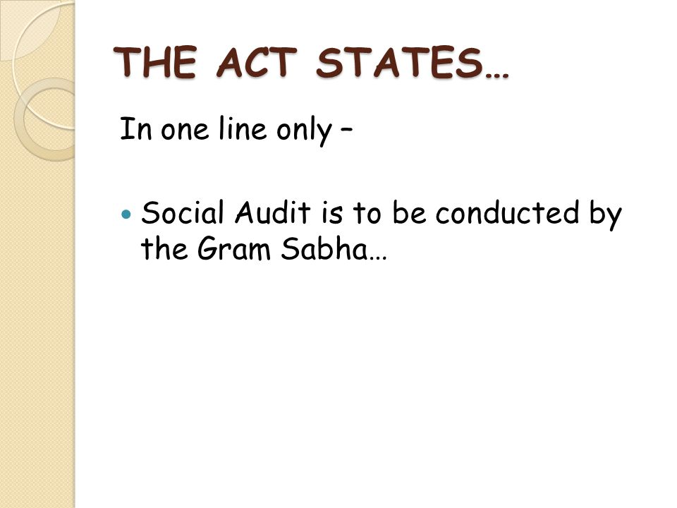 THE ACT STATES… In one line only –