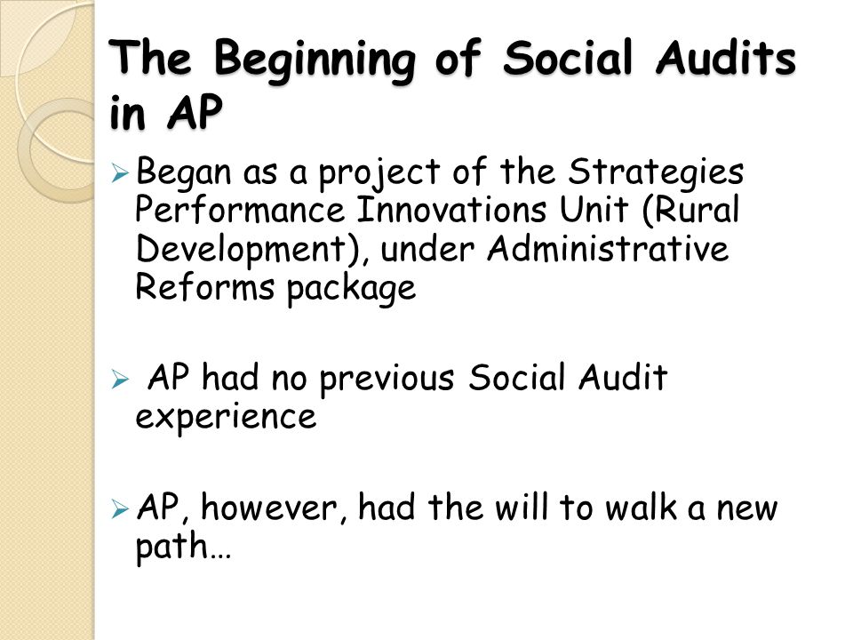 The Beginning of Social Audits in AP