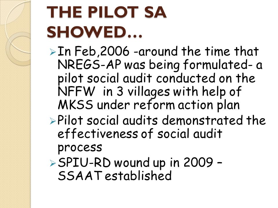 THE PILOT SA SHOWED…