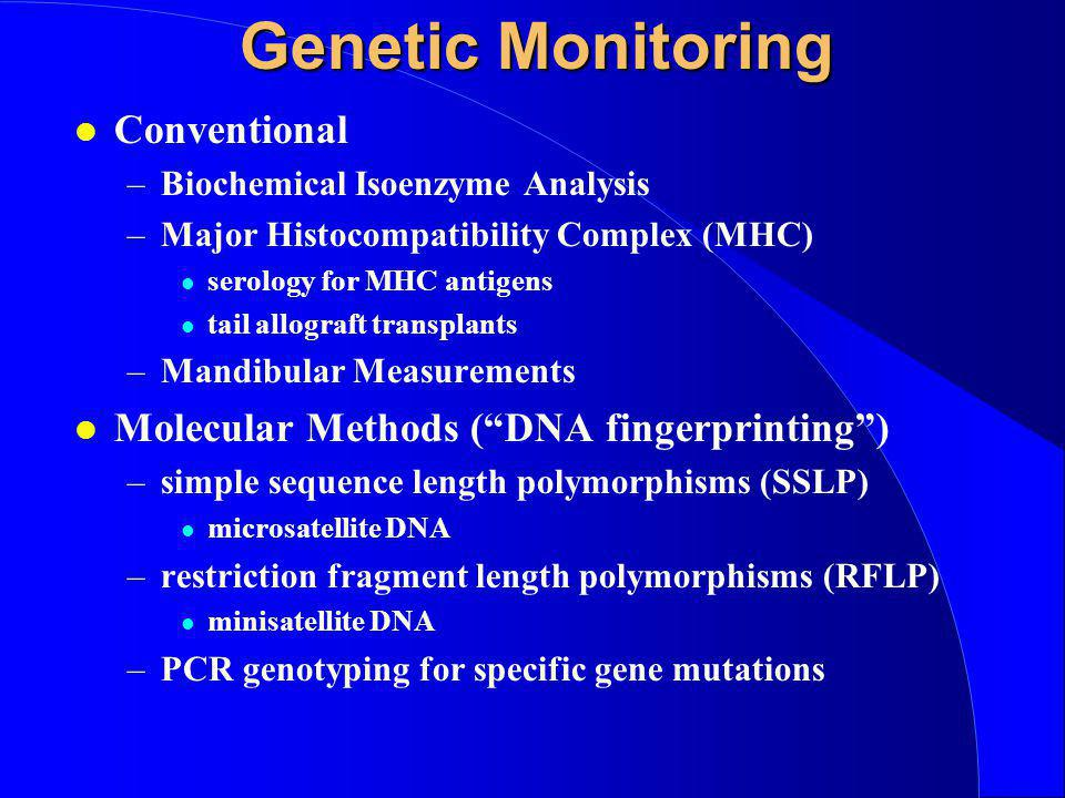 Genetic Monitoring Conventional