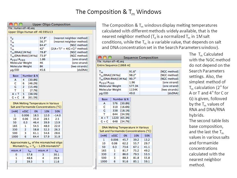 The Composition & Tm Windows