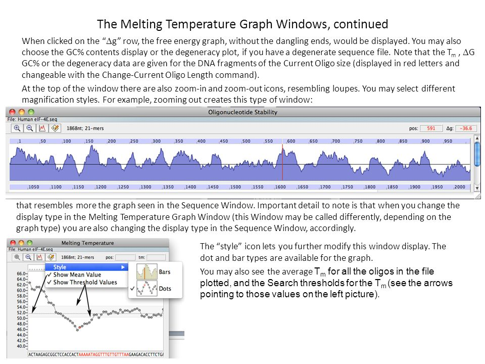 The Melting Temperature Graph Windows, continued