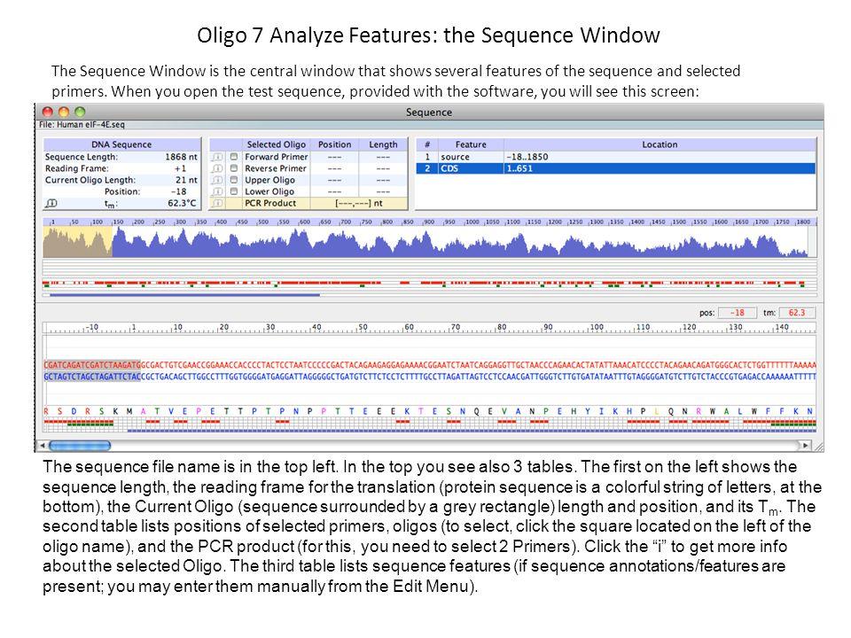 Oligo 7 Analyze Features: the Sequence Window