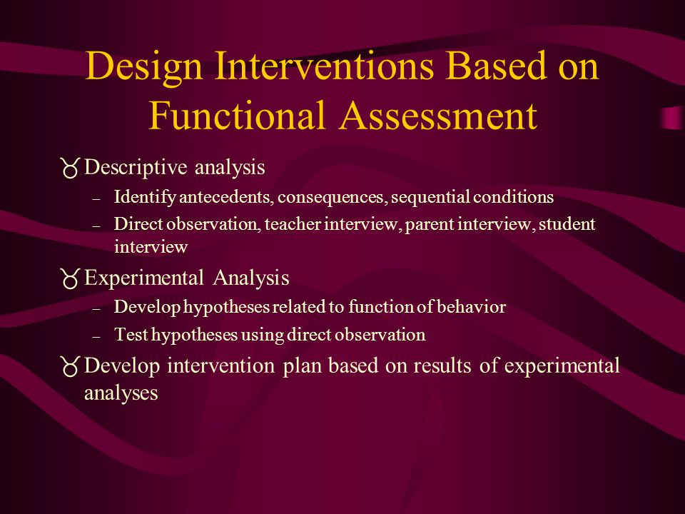 Design Interventions Based on Functional Assessment
