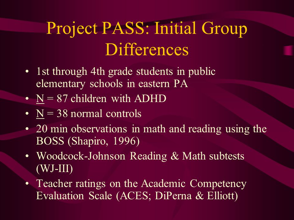 Project PASS: Initial Group Differences