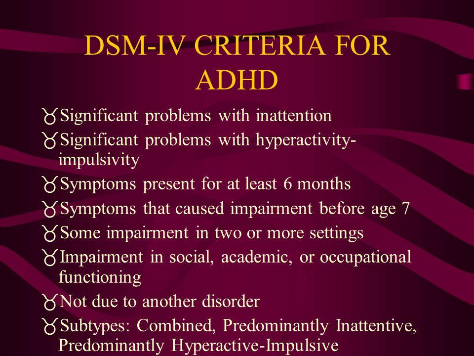 DSM-IV CRITERIA FOR ADHD