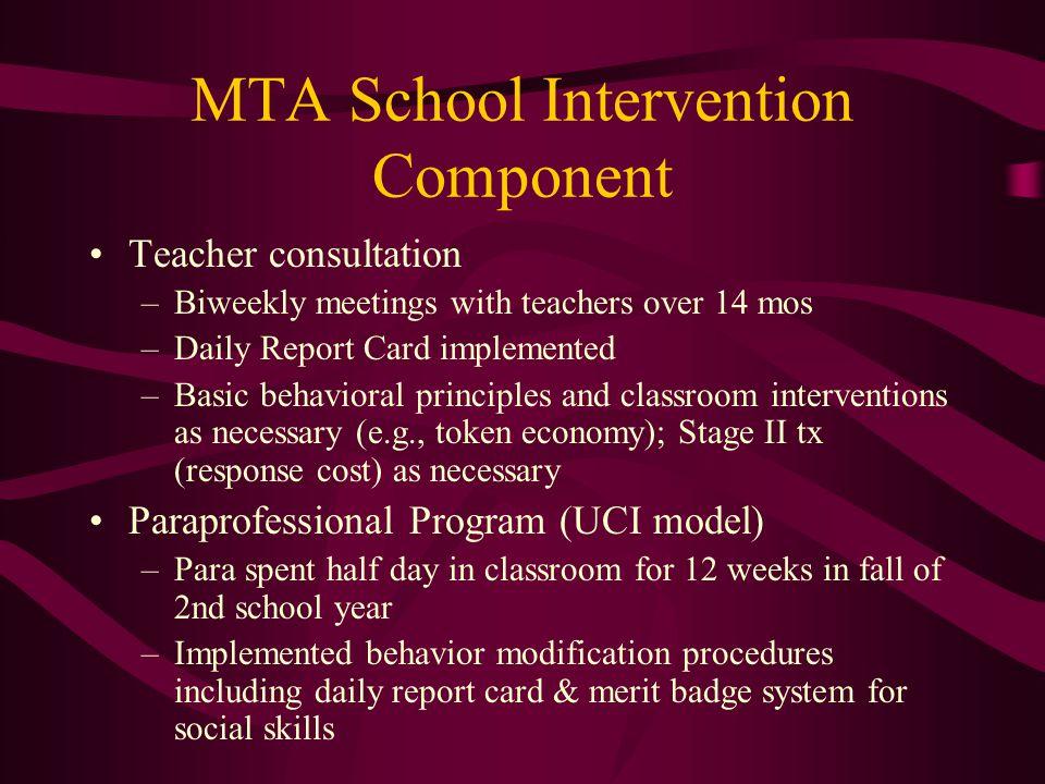 MTA School Intervention Component