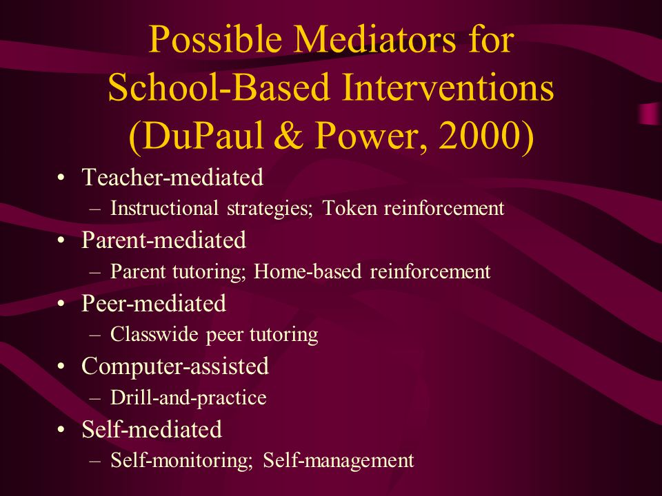 Possible Mediators for School-Based Interventions (DuPaul & Power, 2000)