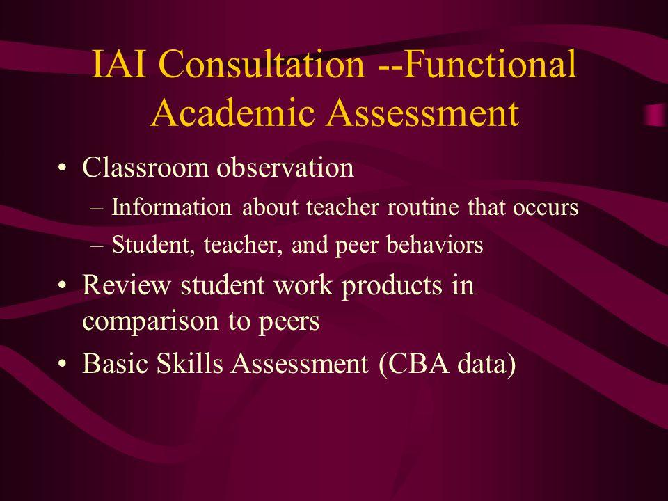 IAI Consultation --Functional Academic Assessment
