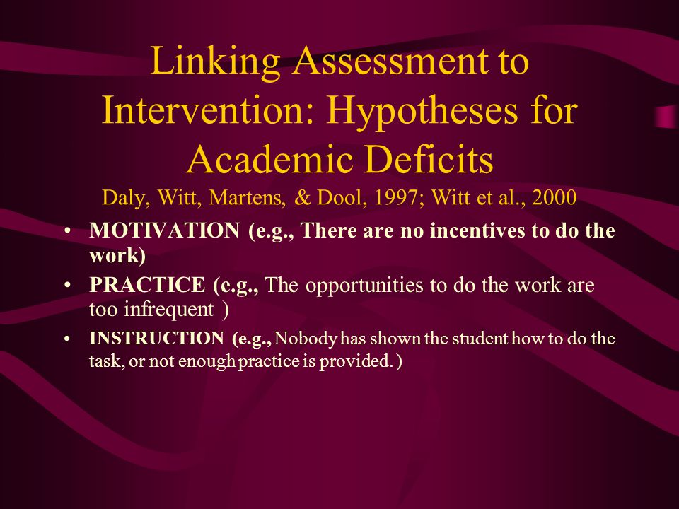 Linking Assessment to Intervention: Hypotheses for Academic Deficits Daly, Witt, Martens, & Dool, 1997; Witt et al., 2000