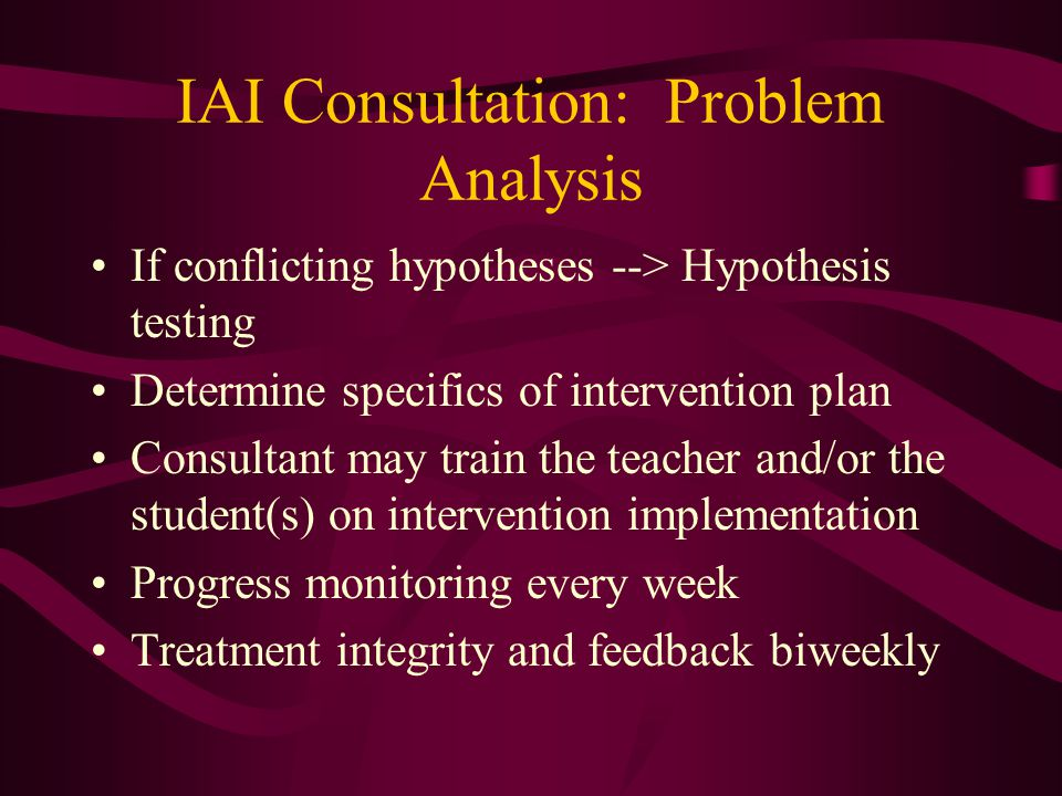 IAI Consultation: Problem Analysis