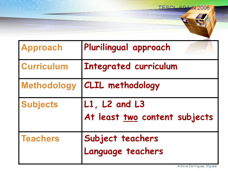 Plurilingual approach Curriculum Integrated curriculum Methodology