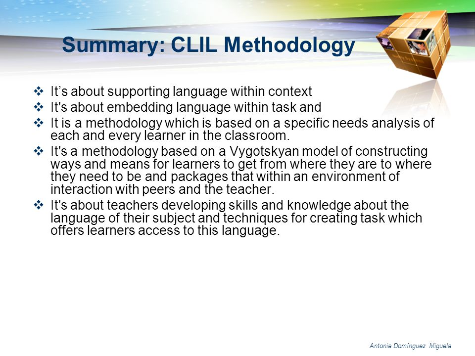 Summary: CLIL Methodology