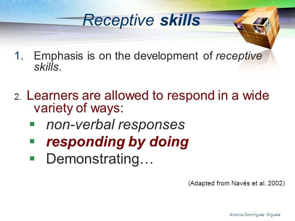 Receptive skills non-verbal responses responding by doing