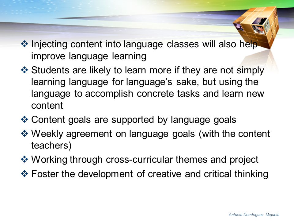 Content goals are supported by language goals