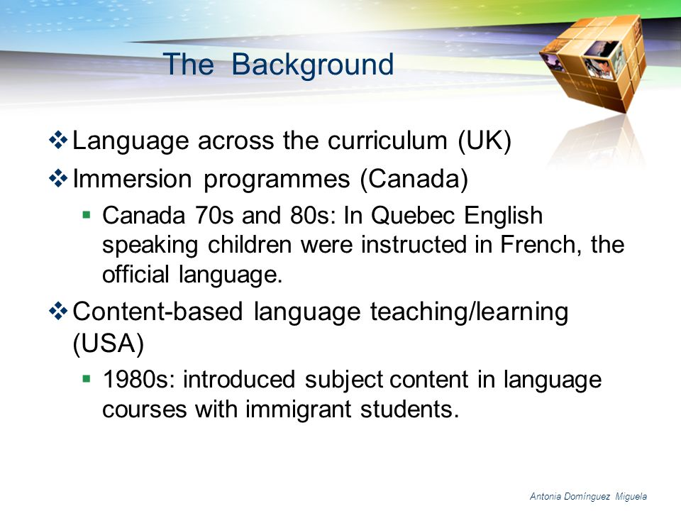The Background Language across the curriculum (UK)