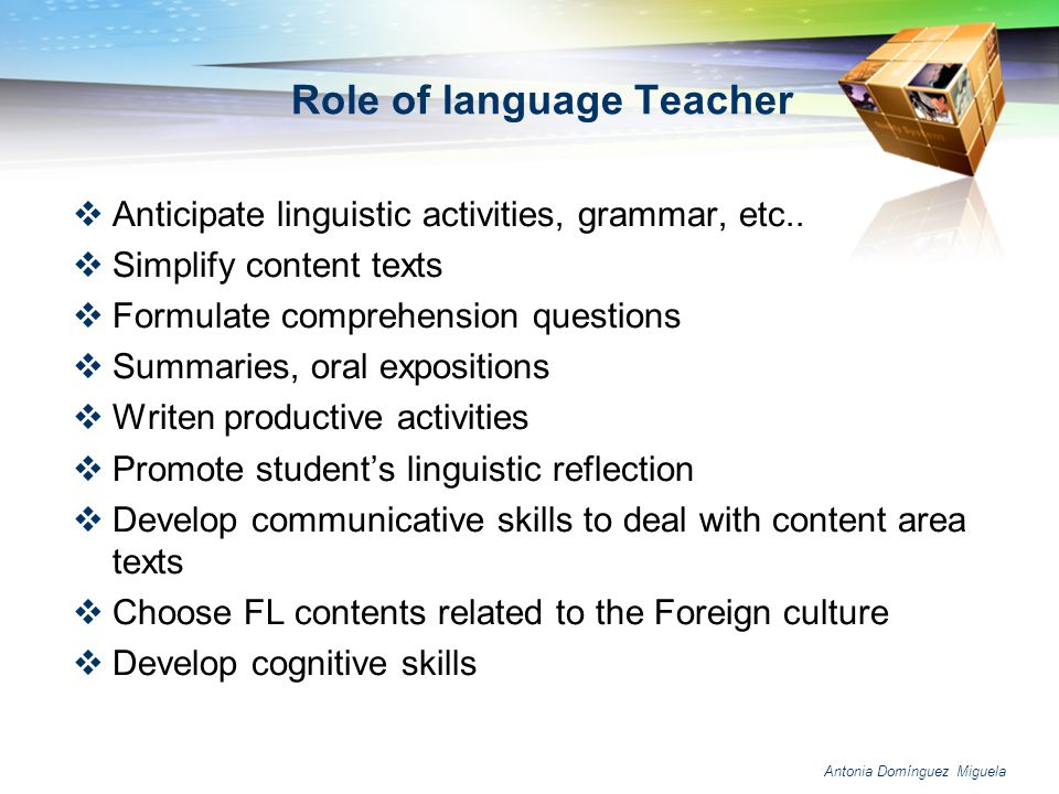 Role of language Teacher
