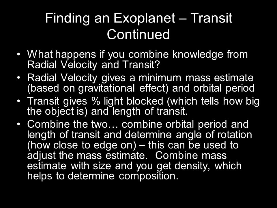 Finding an Exoplanet – Transit Continued