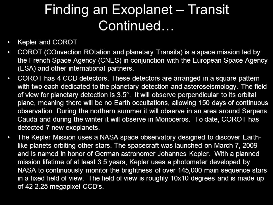 Finding an Exoplanet – Transit Continued…