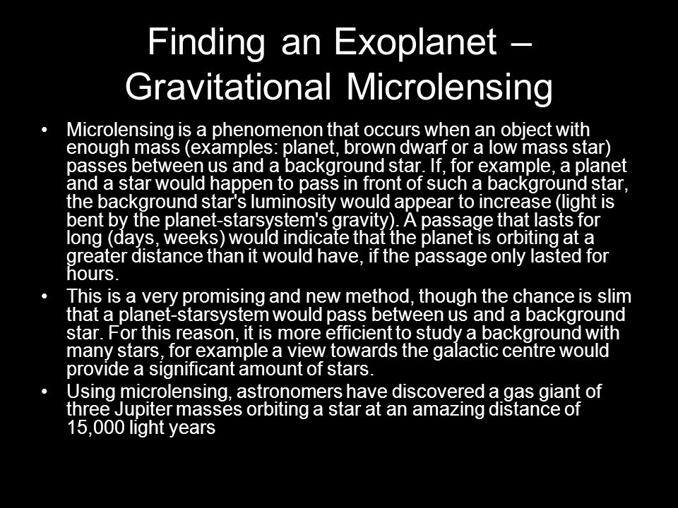 Finding an Exoplanet – Gravitational Microlensing