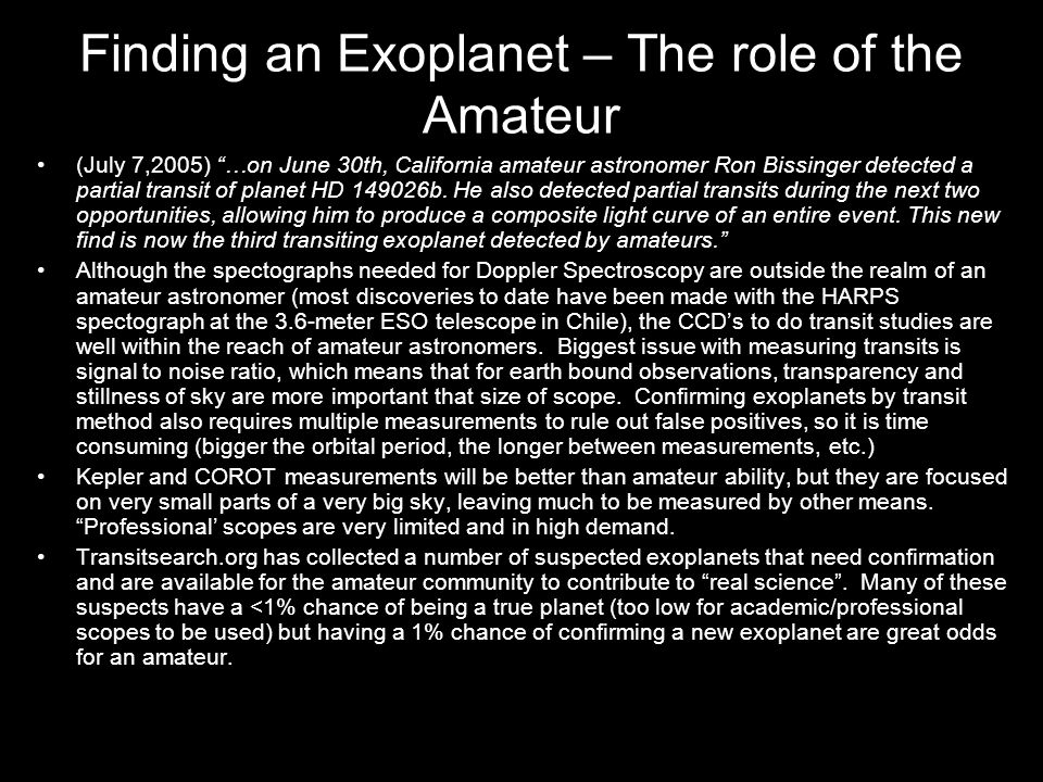 Finding an Exoplanet – The role of the Amateur