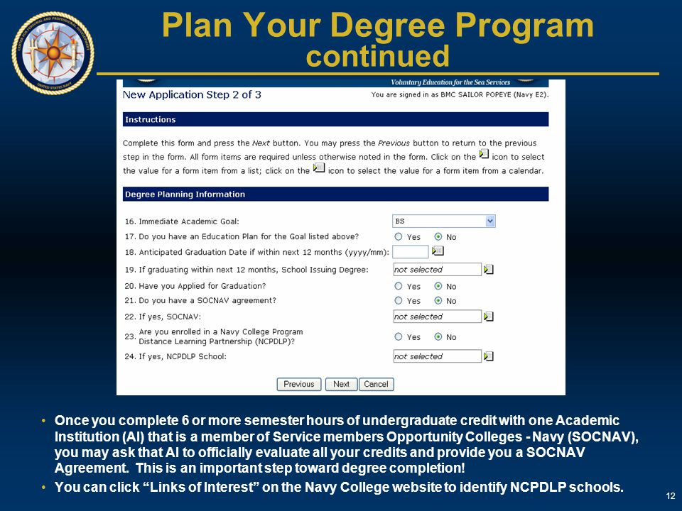 Plan Your Degree Program continued