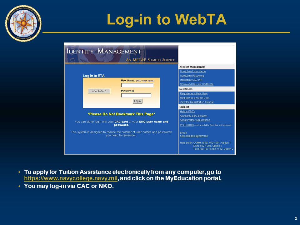 Log-in to WebTA