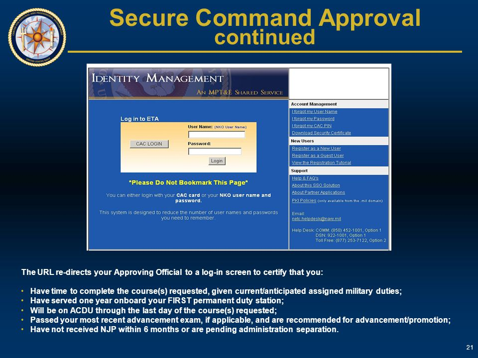 Secure Command Approval continued