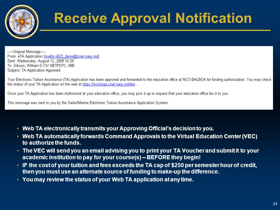 Receive Approval Notification