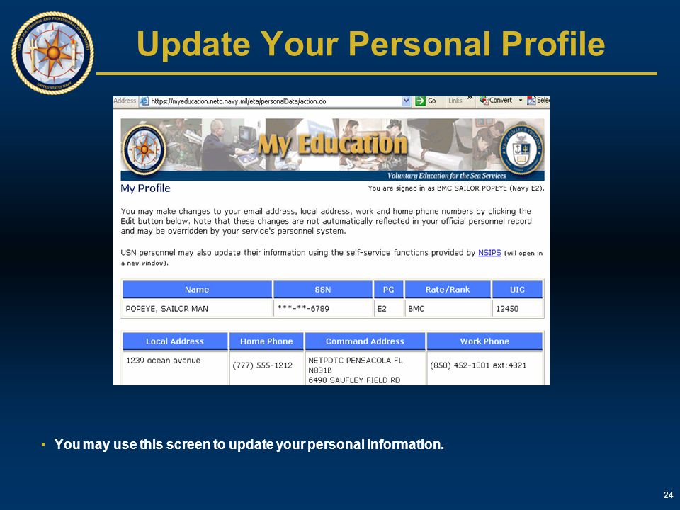 Update Your Personal Profile