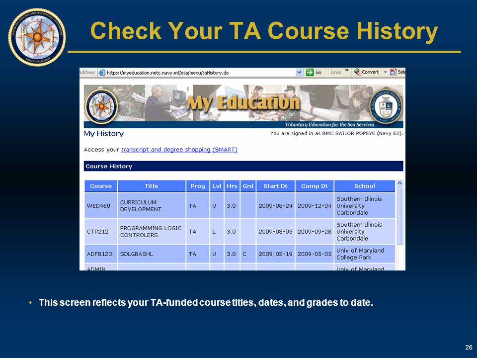 Check Your TA Course History
