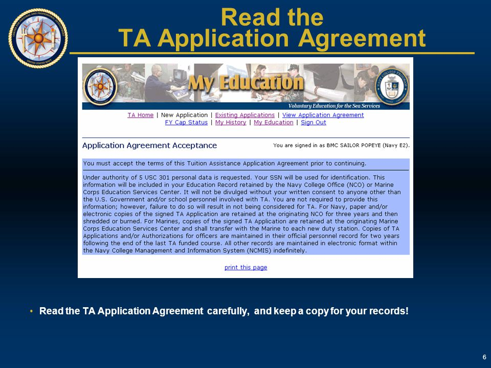 Read the TA Application Agreement