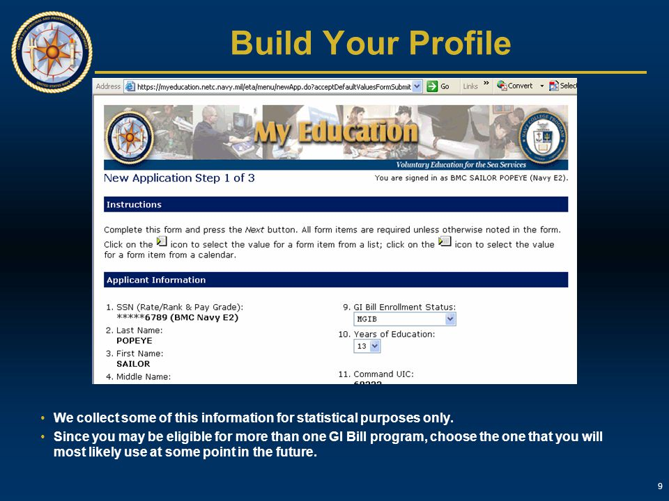 Build Your Profile We collect some of this information for statistical purposes only.