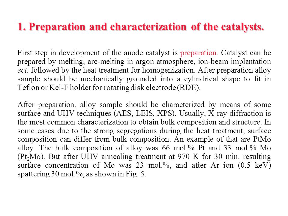 1. Preparation and characterization of the catalysts.