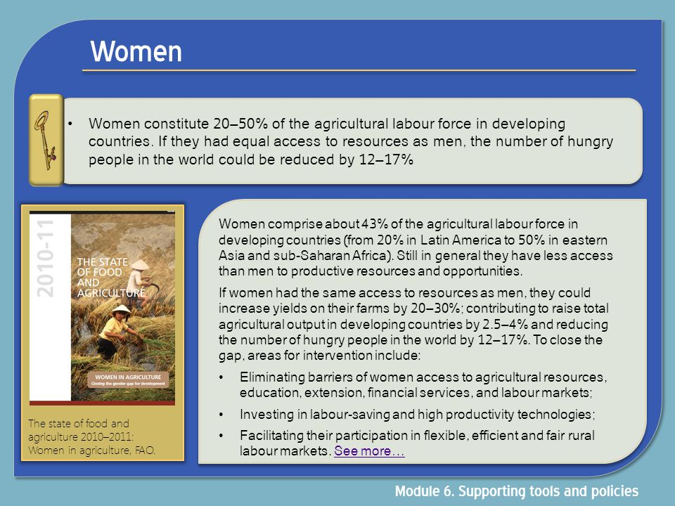 Women Module 6. Supporting tools and policies