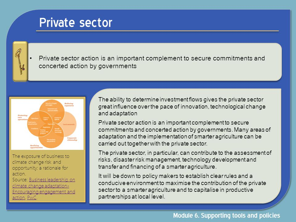 Private sector Module 6. Supporting tools and policies