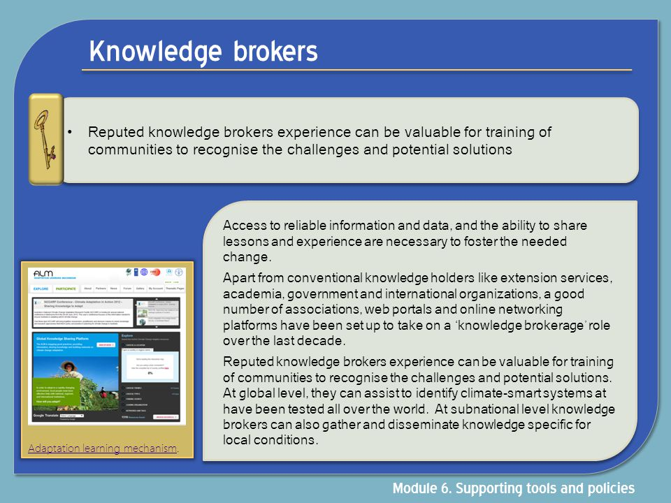 Knowledge brokers Module 6. Supporting tools and policies