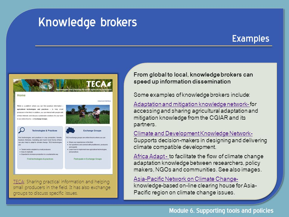 Knowledge brokers Examples Module 6. Supporting tools and policies