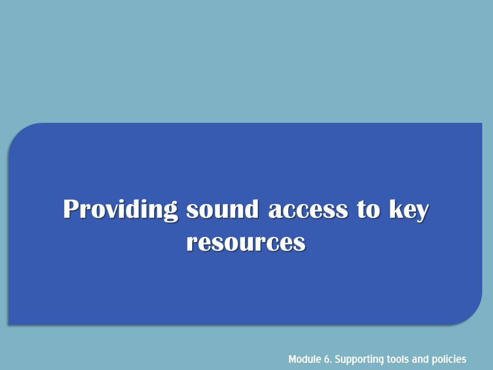 Providing sound access to key resources