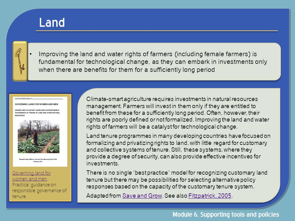 Land Module 6. Supporting tools and policies
