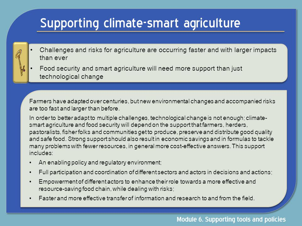 Supporting climate-smart agriculture