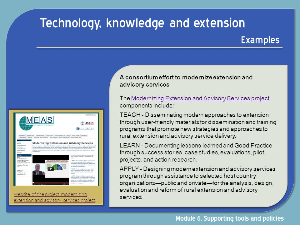 Technology, knowledge and extension