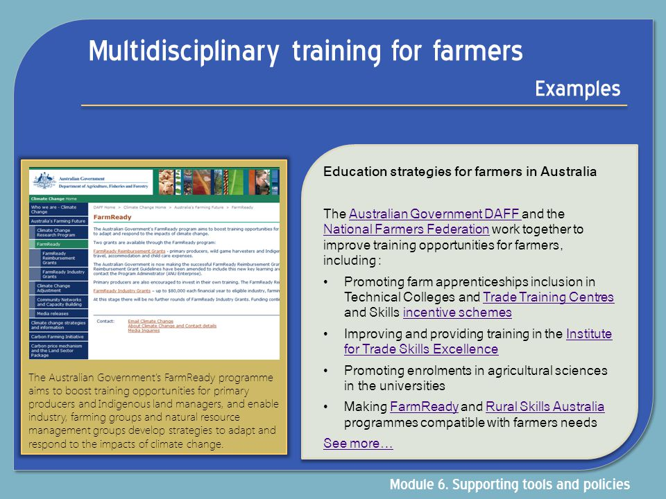 Multidisciplinary training for farmers