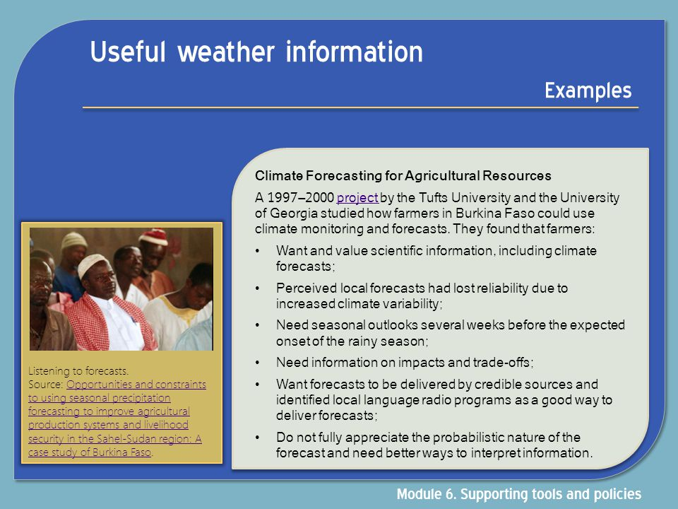 Useful weather information