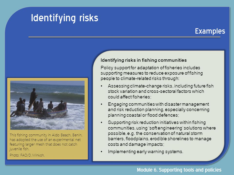 Identifying risks Examples Module 6. Supporting tools and policies