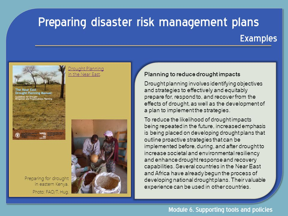 Preparing disaster risk management plans