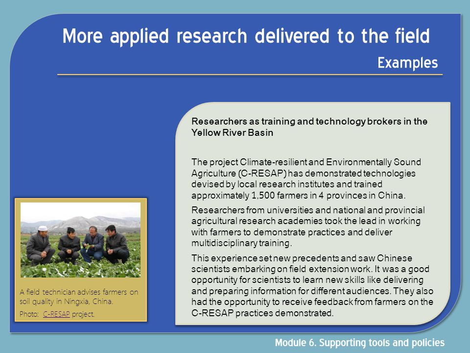 More applied research delivered to the field