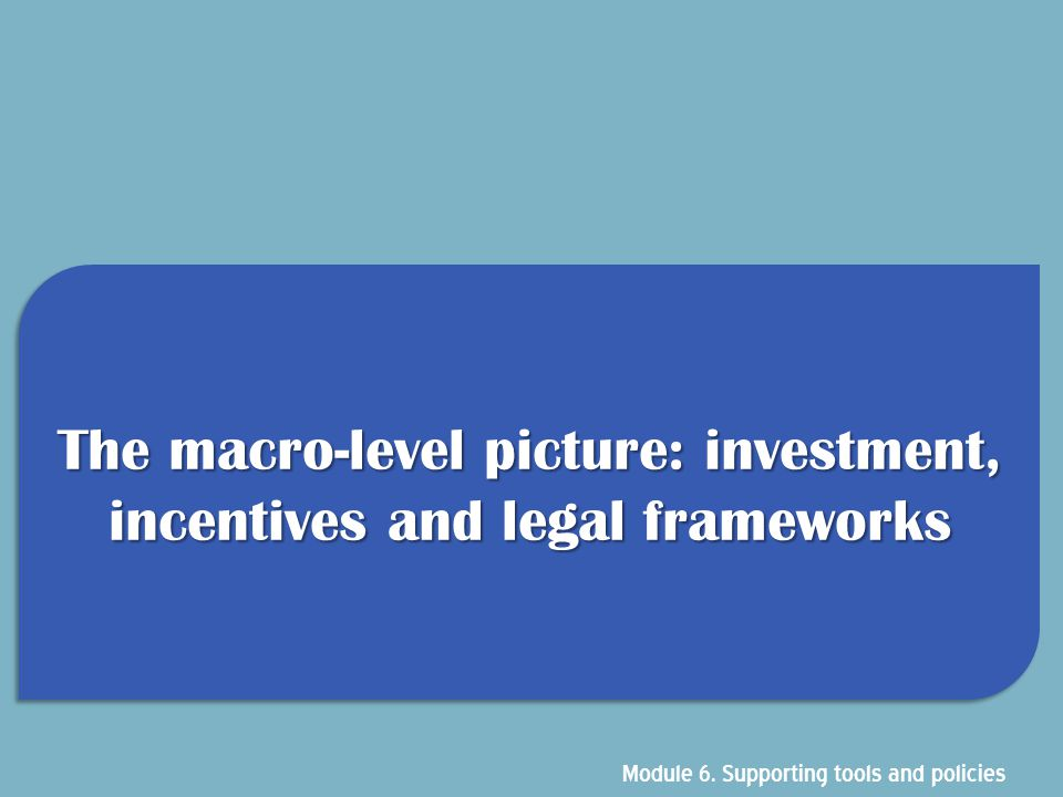 The macro-level picture: investment, incentives and legal frameworks