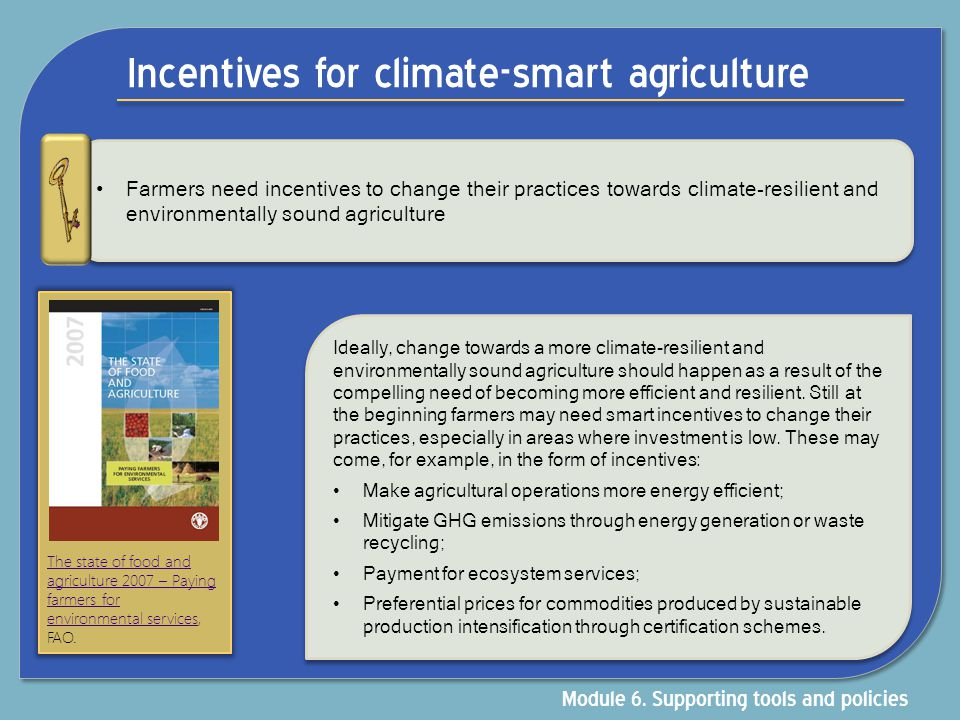 Incentives for climate-smart agriculture