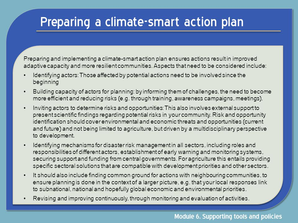 Preparing a climate-smart action plan